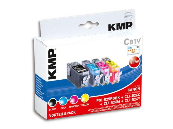 Tintenpatronen-Set KMP, kompatibel für Canon PGI-525PGBK/CLI-526C/M/Y