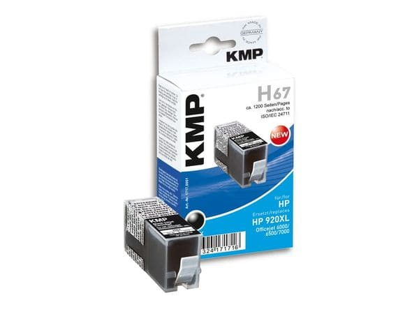 Tintenpatrone KMP, kompatibel für HP 920XL (CD975AE), schwarz