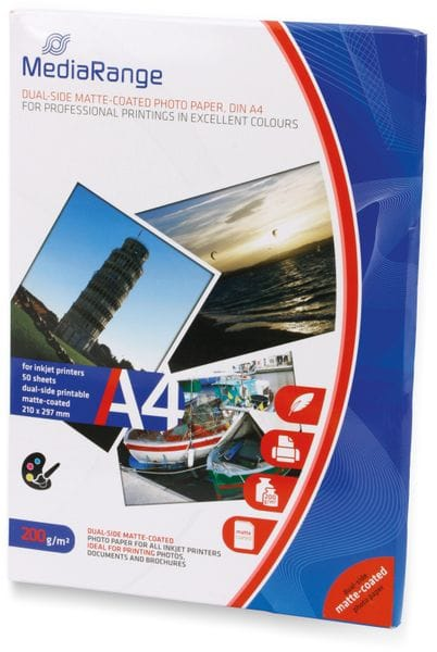 Fotopapier MEDIARANGE, DIN A4, 200 g/m², matt - Produktbild 2