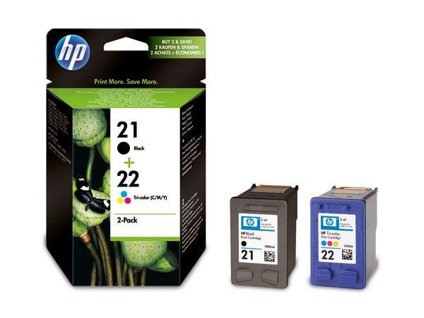 Tinten-Set HP 21 + 22 (SD367AE), schwarz + farbig