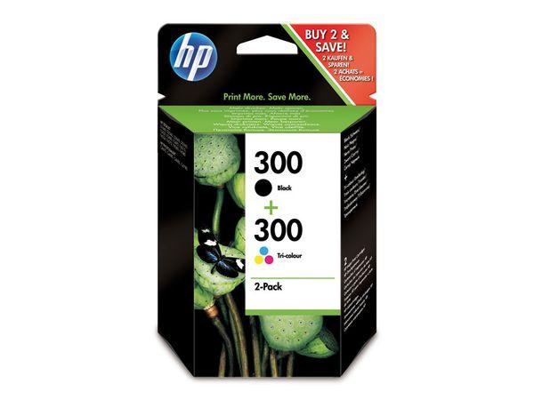 Tinten-Set HP 300 (CN637EE), schwarz + farbig