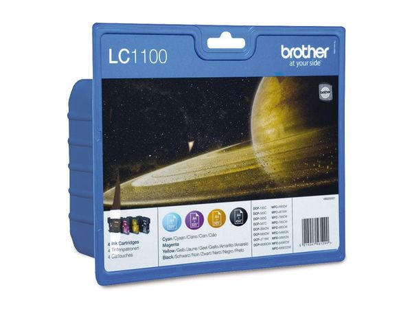 Tinten-Set Brother LC-1100 (LC1100VALBPDR), schwarz + farbig