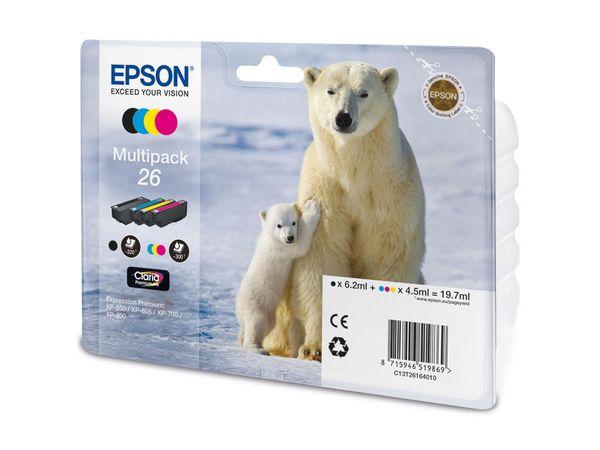 Tinten-Set EPSON T26164010, schwarz + farbig