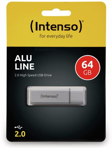USB 2.0 Speicherstick INTENSO Alu Line, silber, 64 GB - Produktbild 2