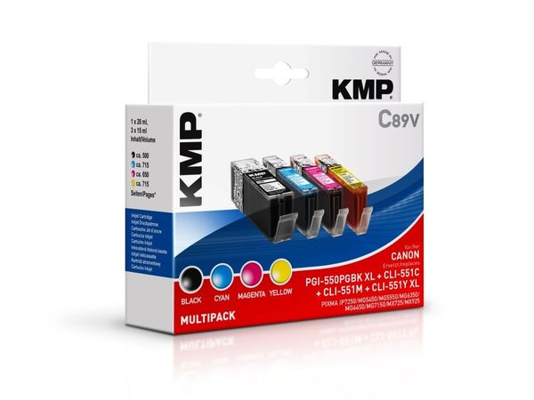 Tintenpatronen-Set KMP, kompatibel für Canon PGI-550PGBK XL/CLI-551C/M/Y XL