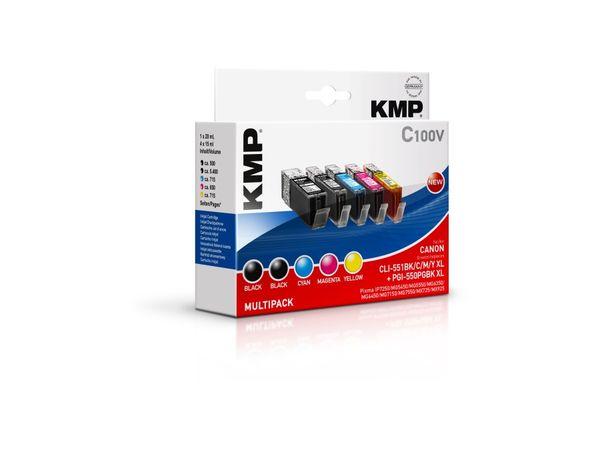 Tintenpatronen-Set KMP, kompatibel zu Canon PGI-550PGBK XL, Nr. 551