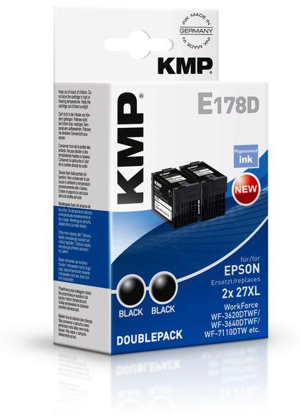 Tintenpatrone KMP, kompatibel zu Epson 27XL (2XT2711), schwarz, 2 Stück