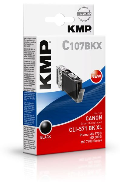 Tintenpatrone KMP C107BKX, kompatibel für CLI571BK XL, schwarz