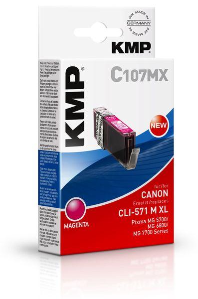 Tintenpatrone KMP C107MX, kompatibel für CLI571M XL, magenta