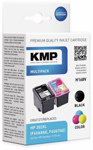 Tinten-Set KMP H168V, ersetzt HP302XL, (1745,4005)