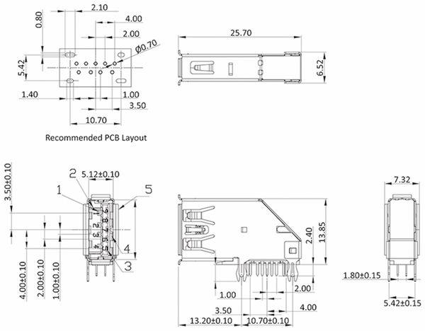 USB-3.0 A-Buchse print vertikal abgewinkelt - Produktbild 2