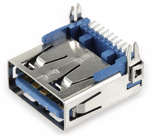 USB-3.0 A-Buchse SMT abgewinkelt, mit Halteklammern - Produktbild 1