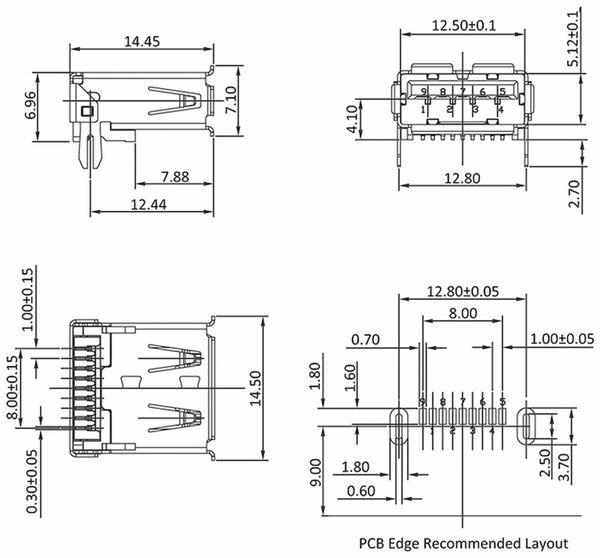 USB-3.0 A-Buchse SMT abgewinkelt, mit Halteklammern - Produktbild 2