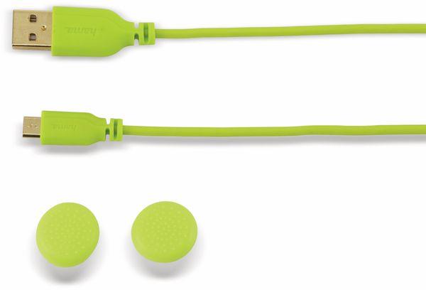 USB Ladekabel, HAMA, A/Micro-B, 3m,Hellgrün mit Controlleraufsätzen für PS4