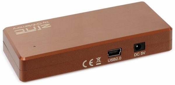 USB2.0 Hub, CnMemory, ZINC, 4-fach, Aluminium, Braun - Produktbild 2
