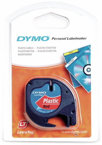Beschriftungsband DYMO für LetraTag, schwarz auf rot