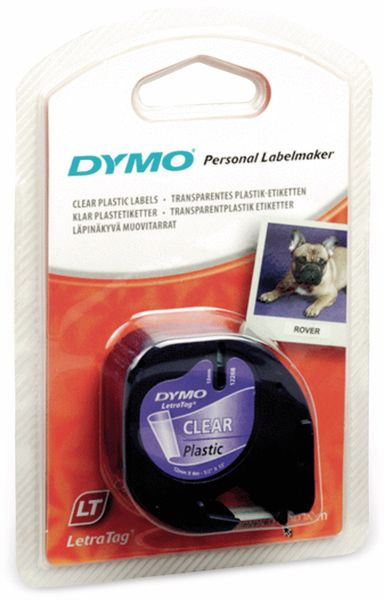 Beschriftungsband DYMO für LetraTag, schwarz auf transparent