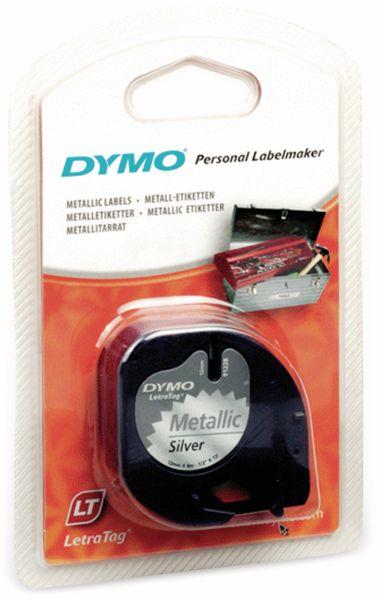 Beschriftungsband DYMO für LetraTag, schwarz auf silbermetallic