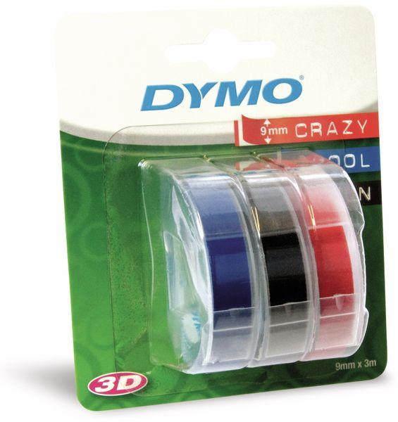 Prägebänder DYMO, rot/blau/schwarz, 9 mm x 3 m