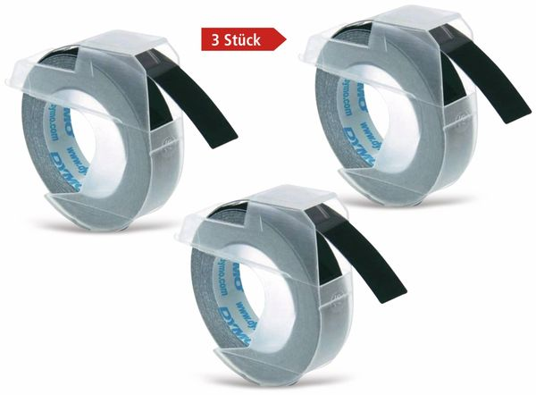Prägebänder DYMO, 3x schwarz, 9 mm x 3 m