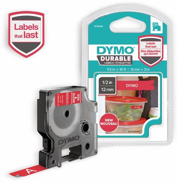 Beschriftungsband DYMO D1 für LabelManager, weiß auf rot, Vinyl