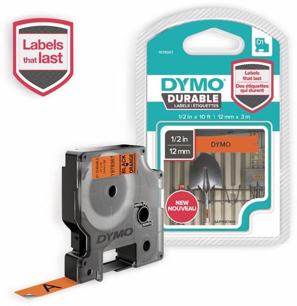 Beschriftungsband DYMO D1 für LabelManager, schwarz auf orange, Vinyl
