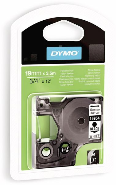 Beschriftungsband DYMO D1 für LabelManager, schwarz auf weiß, Nylon
