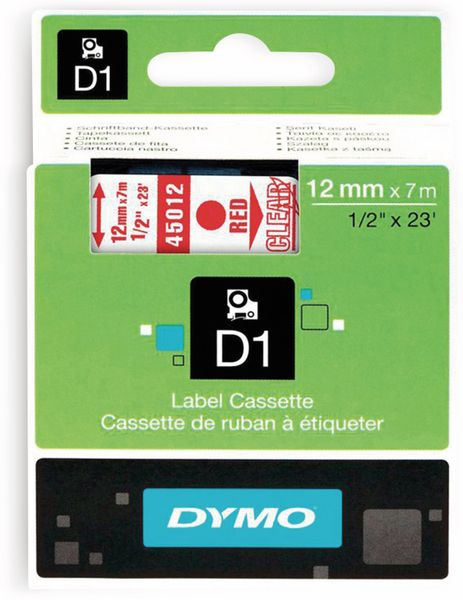 Beschriftungsband DYMO D1 für LabelManager, rot auf transparent, Standard