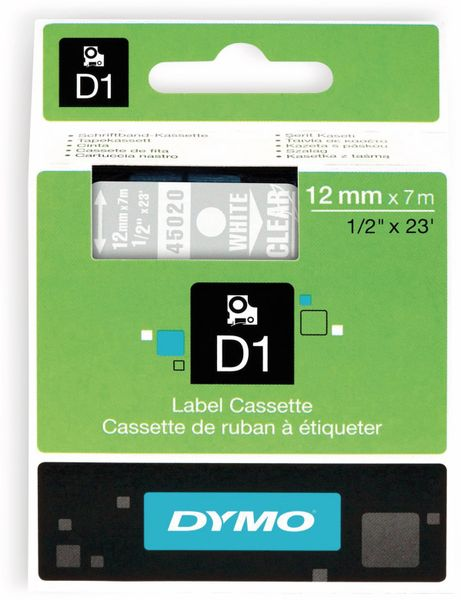 Beschriftungsband DYMO D1 für LabelManager, weiß auf transparent, Standard