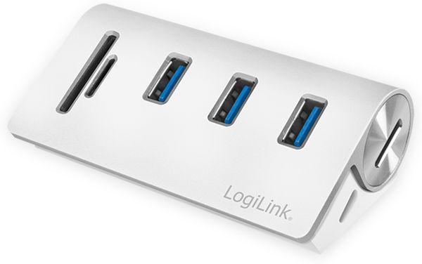 USB-HUB LOGLINK CR0045, 3x USB-A, integrierter Cardreader - Produktbild 2