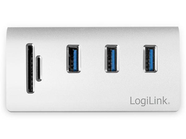 USB-HUB LOGLINK CR0045, 3x USB-A, integrierer Cardreader - Produktbild 3