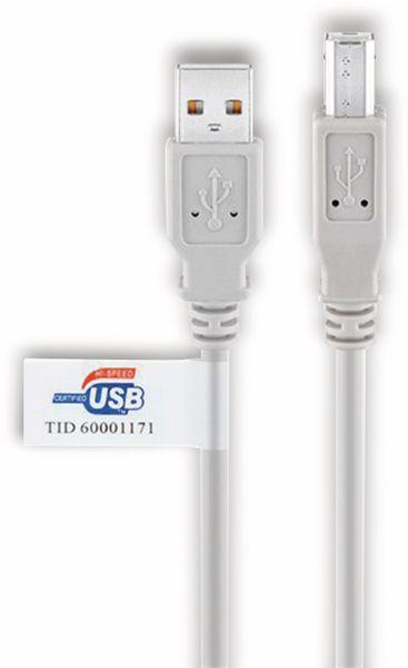 USB 2.0 Typ A/B Hi-Speed Anschlusskabel GOOBAY 50831, 2 m, grau