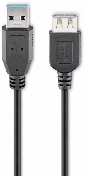 USB 3.0 Super-Speed Verlängerung, A/A, GOOBAY 95726, 5 m, schwarz
