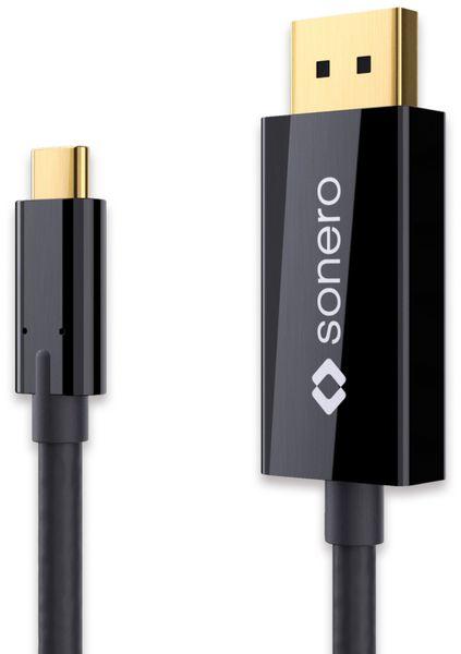 USB-C Adapterkabel SONERO Premium, 2 m, USB-C Stecker/DP Stecker, schwarz