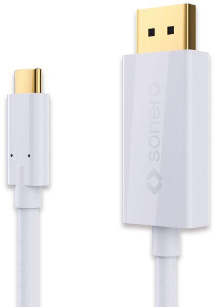 USB-C Adapterkabel SONERO Premium, 2 m, USB-C Stecker/DP Stecker, weiß
