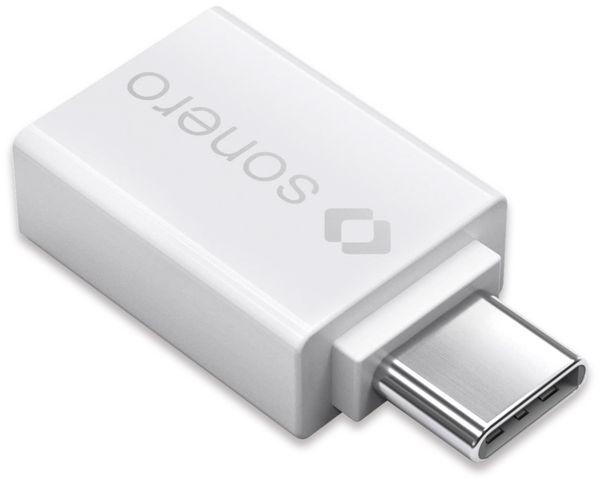 USB-Adapter SONERO Premium X-UA102, USB-C Stecker auf USB-A Buchse, weiß