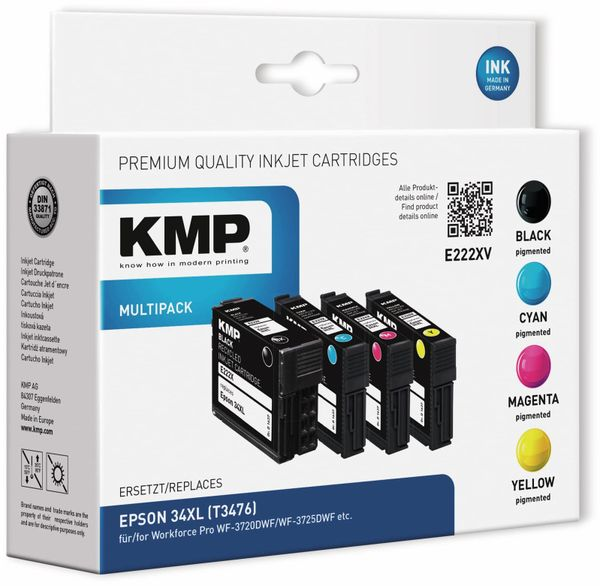 Tintenmultipack KMP E222XV, ersetzt Epson 34XL (T3476)