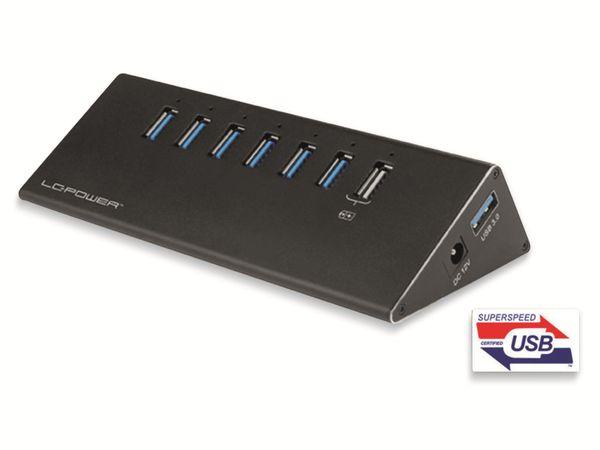 USB-Hub LC-POWER LC-HUB-ALU-2 B-7, USB 3.0, 6-port +1x Power, Alu