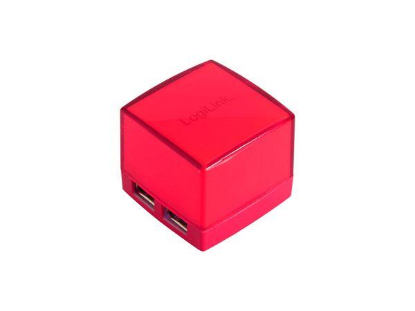 Beleuchteter USB-Hub LOGILINK Cube, rot