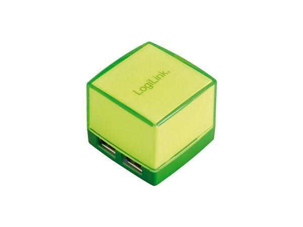 Beleuchteter USB-Hub LOGILINK Cube, grün