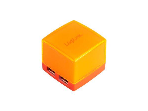 Beleuchteter USB-Hub LOGILINK Cube, orange