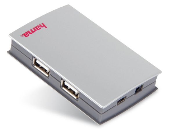 USB 2.0-Hub HAMA PREMIUM SILVER 39833, 4-Port, aktiv - Produktbild 1