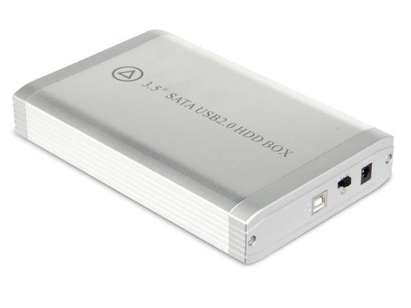 Festplatten-Gehäuse EASY BOX, USB 2.0 zu SATA, silber - Produktbild 1