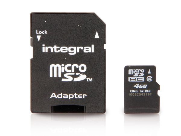micro SDHC Card, 4 GB, INTEGRAL
