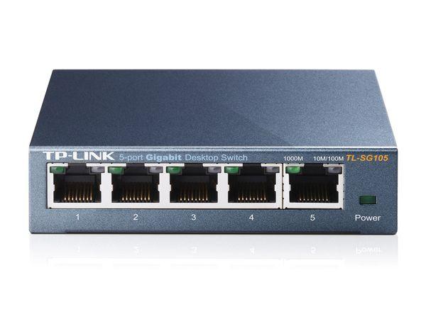 Gigabit Netzwerk Switch TP-LINK TL-SG105, 5-Port, bis 1000 Mbit/S, Metall