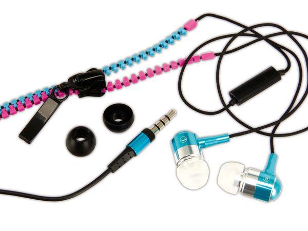 In-Ear Headset LOGILINK HS0024 Zipper, pink/blau
