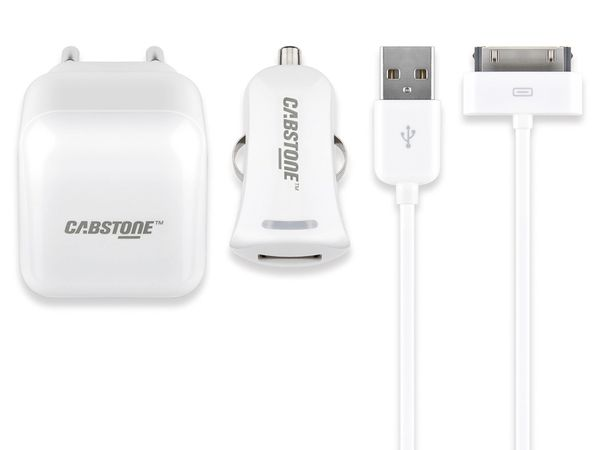 USB-Ladeset CABSTONE Netz-/KFZ, iPhone 3/4, weiß - Produktbild 1