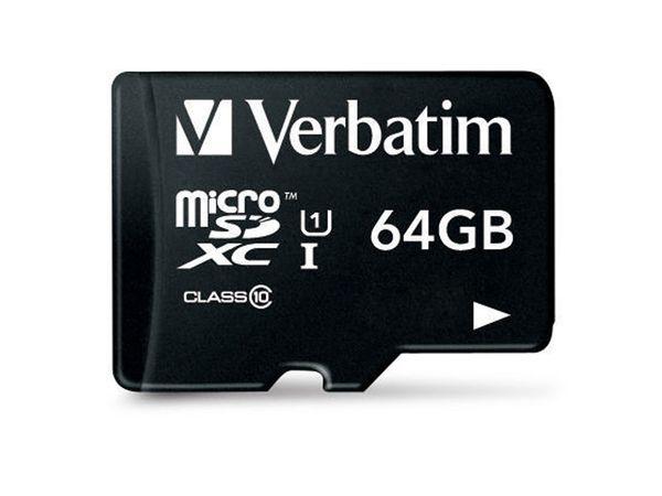 MicroSDXC Card VERBATIM 44014, UHS-I, 64 GB - Produktbild 1
