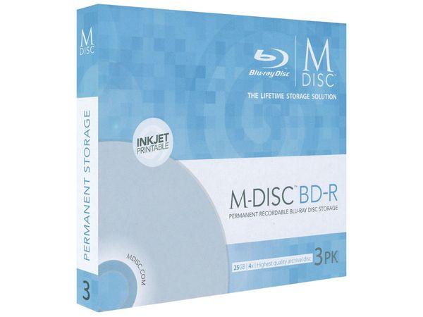 BD-R MILLENNIATA M-DISC MDBDIJ003, 3 Discs, bedruckbar