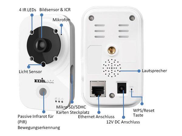 Netzwerk-Farbkamera EDIMAX IC-3140W, WLAN, HD 720p - Produktbild 3